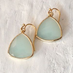 New Mint stone Earrings /Anthropologie Jewelry bag